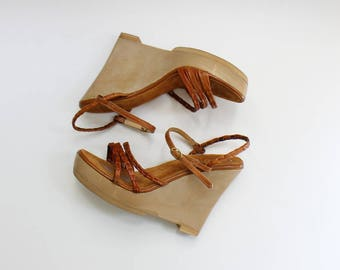 1970s Gino Bellini Platform Wedge Sandals // 70s Vintage Brown Leather Ankle Strap Wedges // Women's Size 6