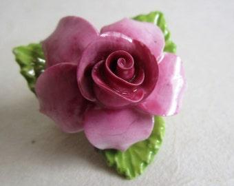 Vintage 70s Ceramic Flower Brooch Pink 1970s Dorothy Ann China Floral Pin