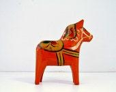Tiny Dala Horse Orange Scandinavian Traditional Folk Art Vintage