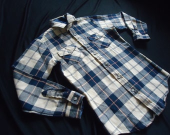 Blue & Tan Plaid FLANNEL Vintage 1980's GRUNGE Teenage Boys Shirt 16