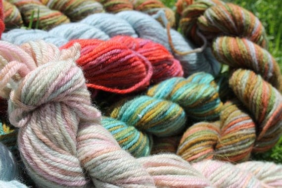 Merino Yarns - 5 Hand dyed varied size skeins   BARGAIN - Close Out Yarn- Knitting- Crochet- Weaving- Doll Hair - Various Colors