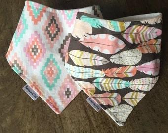 Bandana Bib Set, Handkerchief bibs, Dribble Bib, Tribal Print Bib Set, Baby Girl Bibs, Feathers and Aztec Prints