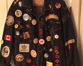 1980's Hippie Denim Jacket with pins