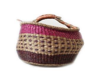 Vintage Handled African Boho Basket ... Pink Purple Magazine Storage, Round Market Basket, Ethnic Bohemian Woven Elephant Grass, Tribal