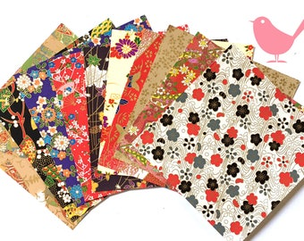 Scrap Pack - Japanese rice and origami paper ephemera, paper with beautiful golden print 5