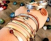 Mantra Resolutions Inspirational Jewelry Custom Bracelet Hand Stamped Metal Copper Silver NuGold Your Name Here Personalized Stackable Cuffs