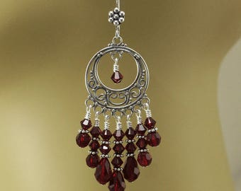 Bold Red Chandelier Earrings Crystal and Sterling Silver Chandeliers Bohemian Hippie Chic Jewelry