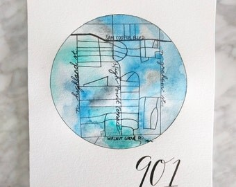 Custom Neck of the Woods Watercolor Map 8x10