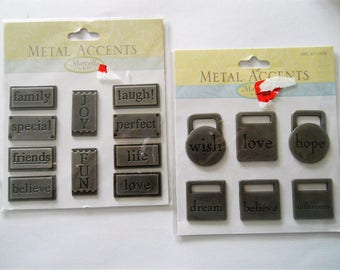 Pewter Metal Tags with Words - Marcella Accents Embellishments - Scrapbooking and Craft Supplies -  Destash