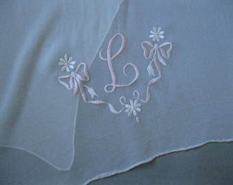 50s Monogram Scarf -  Initial L Scarf - White Chiffon - Gifts for Her - Large Oblong Scarves - Ascot - Mothers Day