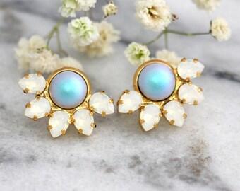 Bridal Pearl Earrings, Blue Sky Earrings, Bridal Blue Powder Swarovski Earrings, Opal Earrings, Bridesmaids Earrings, Light Blue Studs