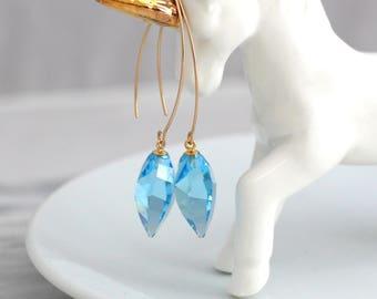 Aquamarine Earrings, Light Blue Earrings, Long Blue Sky Earrings, Gold Filled Blue Drop Earrings, Blue Dangle Earrings, Bridesmaids Earrings