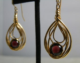 Vintage Red Garnet Earrings Lirm Israel 925 Gold Gilded Sterling Silver Dangle Drop Pierced Signed GallivantsVintage
