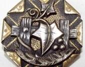 Antique Metal Button Large Brass Handkerchief Corner Ivy on a Fence w/ cut steel