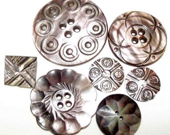 Antique Carved Pearl Buttons Assortment Very Iridescent