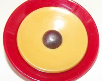 Vintage Button X-Large 3 Material 2 Layers Bakelite