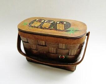 Caro-Nan Basket Handbag, Woven Weave Basket Purse, Caro-Nan Owl Bag, 1970s Handle Bag, Hand Painted Owl Handbag, Judi Lesli