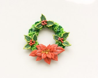 Miniature dollhouse Christmas wreath with holly and poinsettia handmade from polymer clay