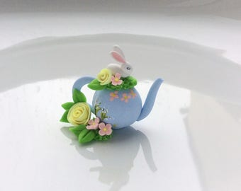 Miniature white rabbit teapot with flowers handmade from polymer clay