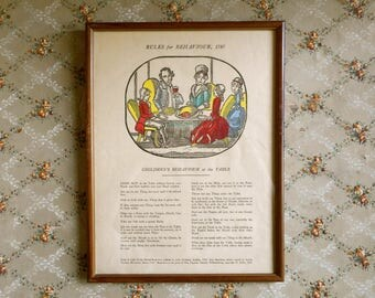Vintage Print Framed Children's Behaviour at the Table 1787