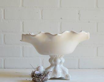 White Ceramic Compote, Ceramic Compote, Spring Compote, Spring Whites, White Compote, Spring Basket, Floral Compote, White Basket,