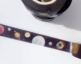 Planetary Washi Tape - Paper Tape Great for Scrapbooking Paper Crafts and Decorations - Astronomy Solar System Planets 15mm x 10m
