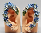 SALE - Blue Flower Elf Ear Cuffs, Wreath Elf Ears, Blue Flower Ear Wraps, Floral Elf Ears, Blue Elf Ears, Sterling Silver Elf Ear Cuffs