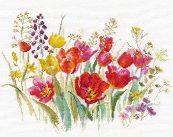 NEW UNOPENED Russian Counted Cross Stitch Kit Alisa 2-34 Field of tulips FLOWERS