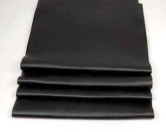 RECLAIMED BLACK LEATHER Pieces Very Soft Supple Fine Grain Scraps 1307