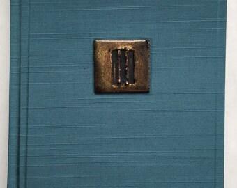 Handmade Marine Blue Sketchbook, Journal, Diary with embossed acrylic tile