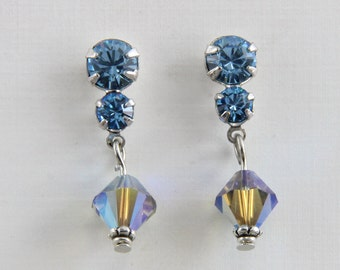 Handmade  Rhinestone  And Crystal Earrings  Blue Zircon Color Steel Studs by Harry W Wood of Oscarcrow