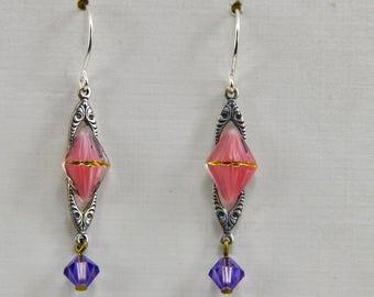 Handmade Dangle Earrings  Silver Pink Purple Gold  on Silver Hooks Handmade by Oscarcrow Jewelry
