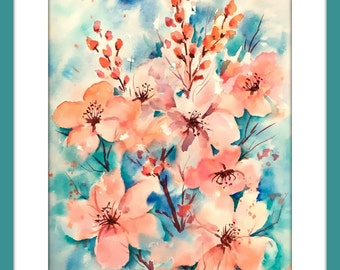 Watercolor Cherry Blossoms Peach Pink by Martha Kisling Art With Heart