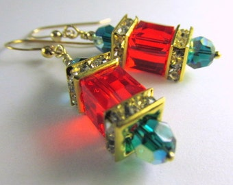 Swarovski Cube Holiday Earrings in Red and Green - Choose from  14k gold fill or Fine Sterling Silver