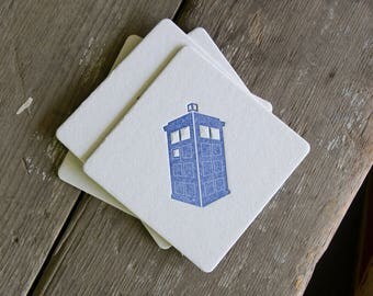 Tardis Coasters, Doctor Who (Letterpress printed, 3.5 inches) set of 4, perfect gift