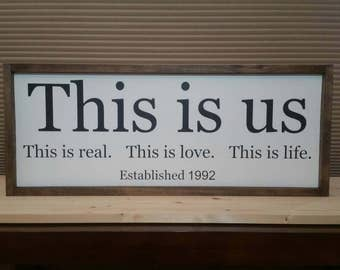 This Is Us, Wood Sign, Family Wood Sign, Established Date Sign,This Is Real, This Is Love, This Is Life., 32x13
