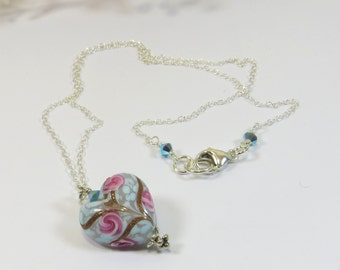 Venetian Murano Glass Necklace, Soft Blue Rose Pink and Aventurine Murano Heart Necklace with Swarovski crystal and 925 Sterling Silver