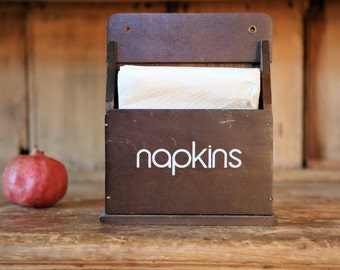 Vintage Wooden Wall Hanging Napkin Holder / Dark Brown Wood Napkins Box / Mid-Century Retro Kitchen Home Decor