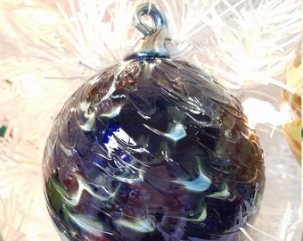 "NW Hand-Blown Glass Holiday/Christmas Ornaments ""Midnight Twist"""