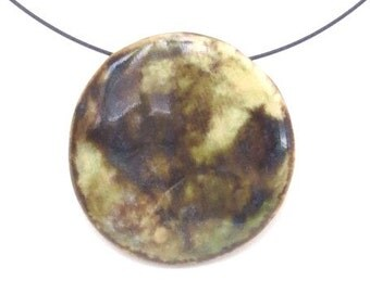 Earthy Ceramic Pendant Round Earth Tone Clay Necklace Organic Pottery Jewelry Rustic Contemporary  Choker Modern Ceramic Statement Necklace