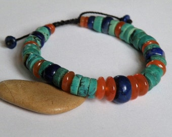 Gemstone bracelet - Lapis Lazuli - Turquoise - Carnelian - disc shaped beads - pull out closing - Buddhist style - Tribal - Zen