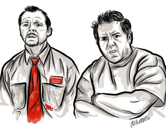 "Shaun and Ed from ""Shaun of the Dead"" - Illustration - Digital Art - 11"" x 17"""