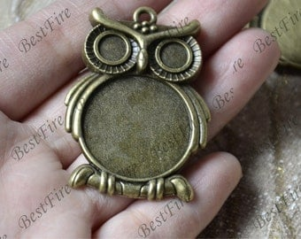 4 pcs Antique Brone owl round Cabochon pendant tray (Cabochon size 25mm),bezel charm findings,lacework findings,cabochon blank finding