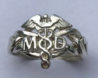 Ladies 4 Band Doctor's Caduceus Sterling Silver or Gold Puzzle Ring 4MD