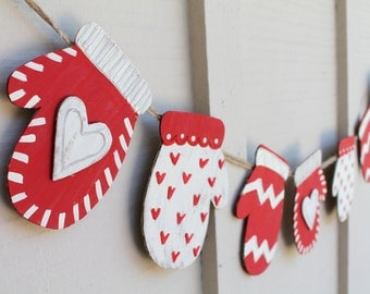 Mittens Christmas Banner, Holiday Sign, Christmas decoration