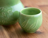Stoneware Double Shot Glass, Lime Green, Slip Trailed Wheel Thrown Pottery, Giselle No. 5 Ceramics