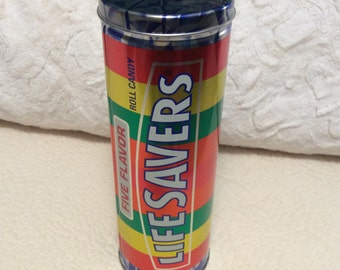 "Vintage Life Saver Candy Tin Box Large 10"" Tall Rainbow Mars Advertising Vintage"