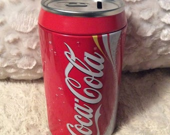 MOTHERS DAY SALE Oversized Coca Cola Tin Bank Like New Gift Coke Can Americana Advertising