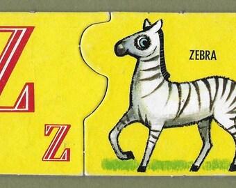 Vintage Mid Century Children's Illustration - Z - Zebra