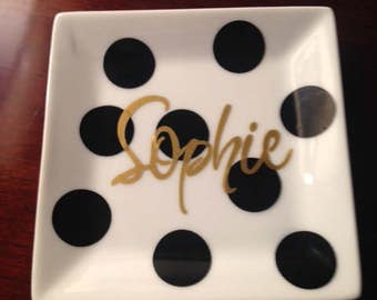 Personalized Polka Dot Jewelry Dish, SET of FOUR Ring Trays, Bridesmaids Jewelry Tray, Coaster, Ceramic Dish